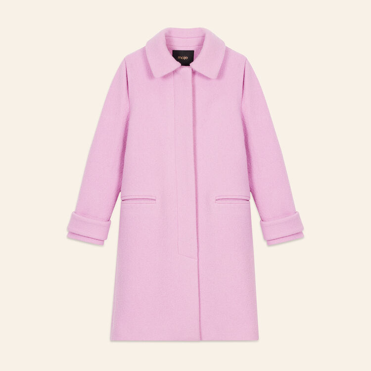 Straight-cut coat in virgin wool : Coats color Pink