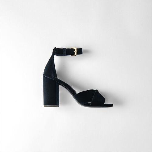 Heeled velvet sandals : Slipper color Navy