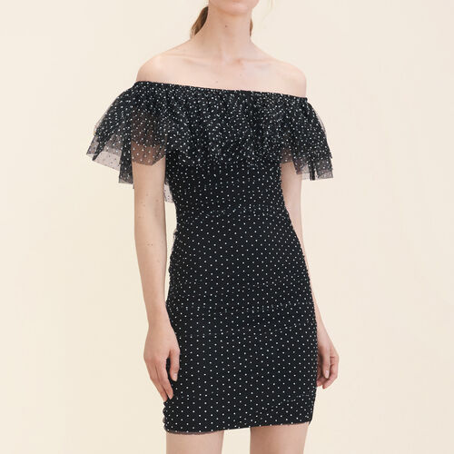 Polka-dot draped dress : Dresses color Black 210