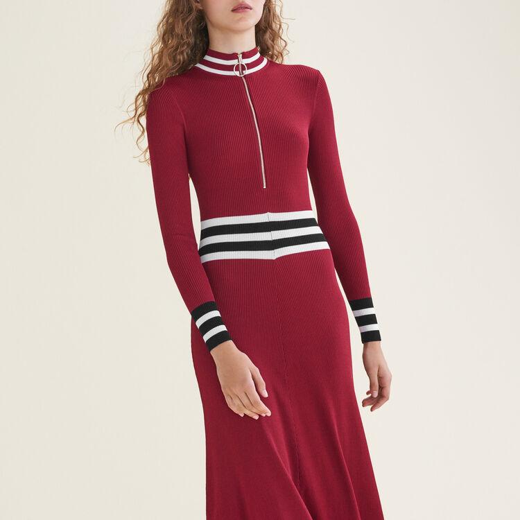 Long rib-knit dress : Dresses color Burgundy