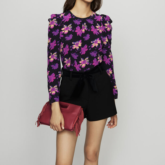 Crepe top with floral print : Tops color Print