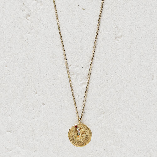 """Necklace with medallion  """"Mon oiseau"""" : Jewelry color GOLD"""