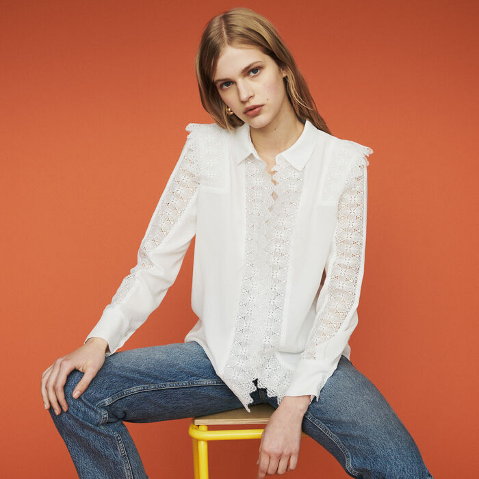 Shirt with lace : Tops & Shirts color White