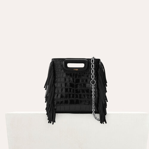"Mini ""M"" bag in crocodile with chain : M Mini color Black 210"