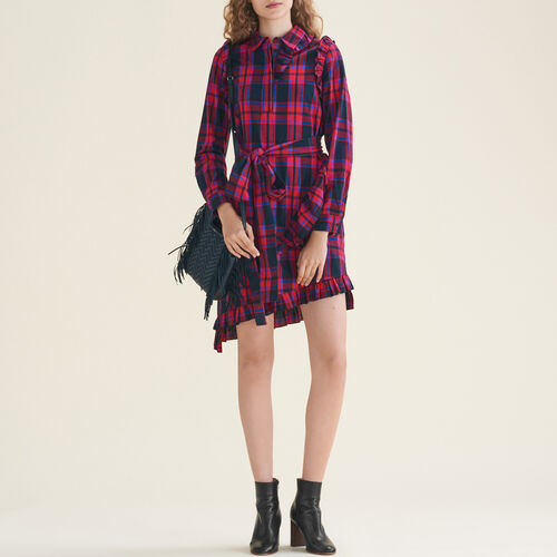 Checked dress with frills : Dresses color Jacquard