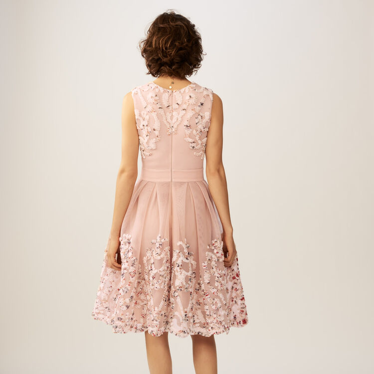 Sleeveless weave embroidered dress : Dresses color Pink