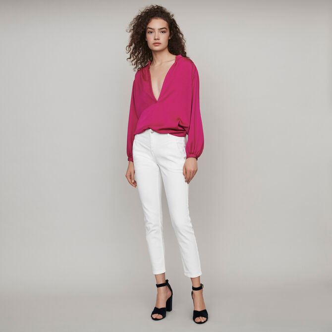 Straight-cut ripped jeans with pockets -  - MAJE