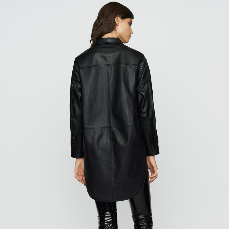 Long leather blouse : Leather color BLACK