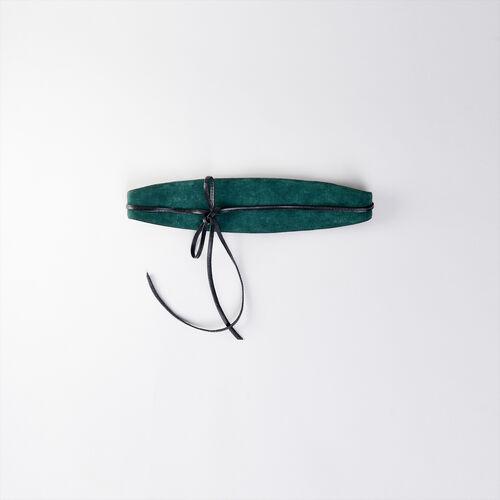 High-waisted suede belt : Belts color GREEN