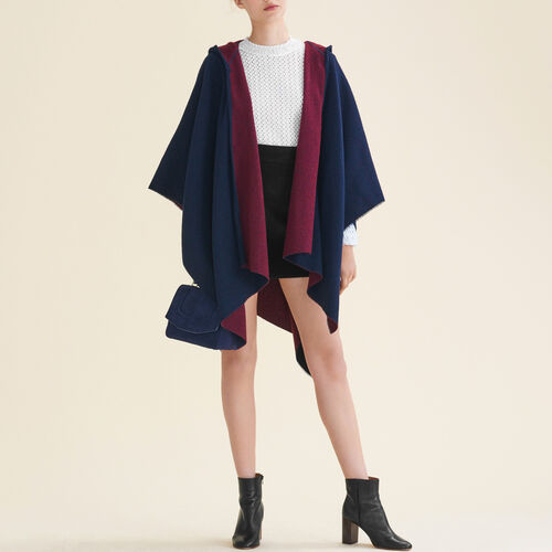 Reversible hooded poncho - Scarves - MAJE