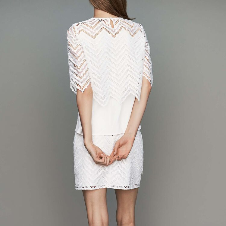 Top in crepe and lace : Ready to wear color White