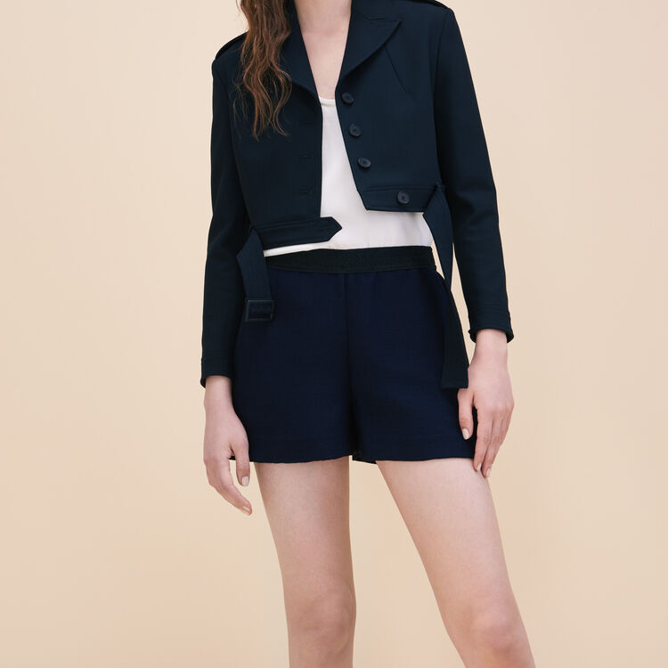 Short shorts in ottoman fabric : Skirts & Shorts color Navy