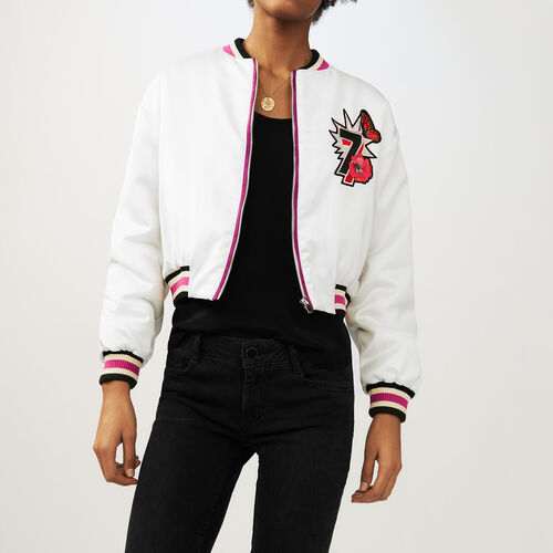 Cropped embroidered jacket : Jackets color White