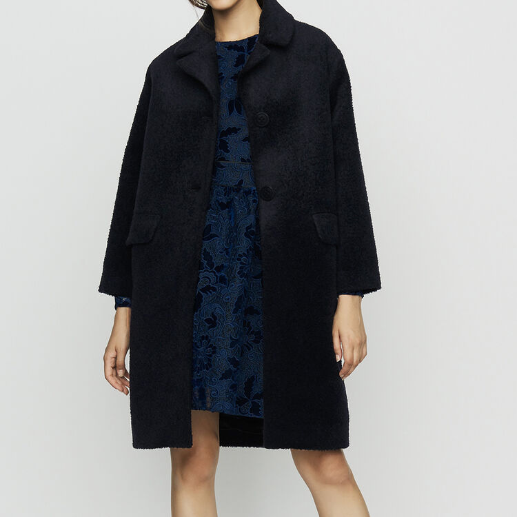 Long alpaca coat : Coats color Navy