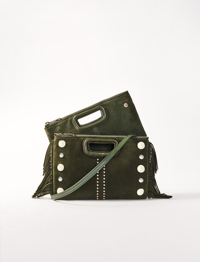 M Duo suede clutch with studs -  - MAJE