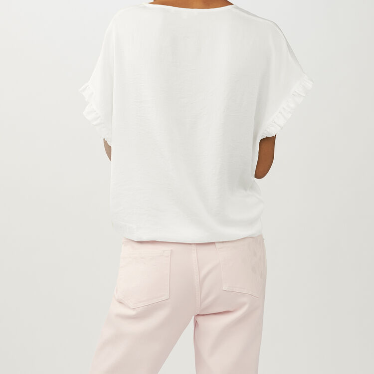 Oversized top with flounce detail : Tops color White