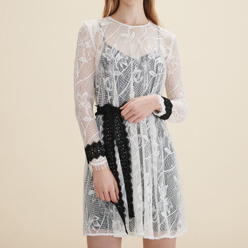 Short lace dress : Dresses color WHITE