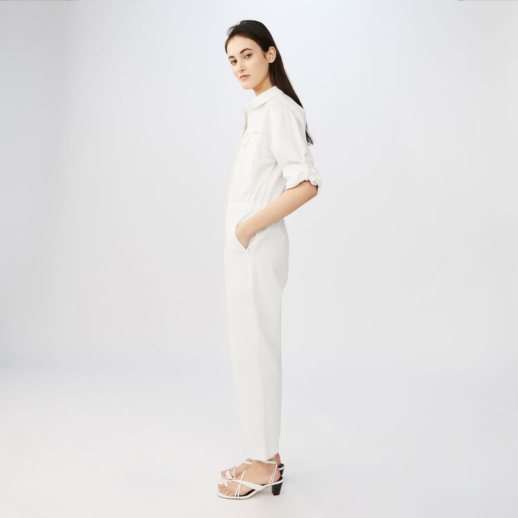 Cotton factory-style jumpsuit : See all color ECRU