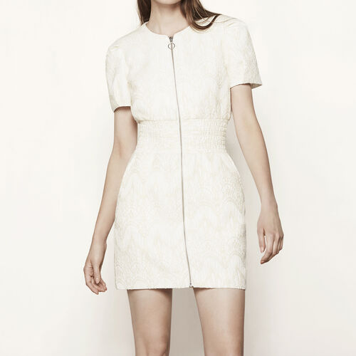 Jacquard dress with smocking : Dresses color Ecru
