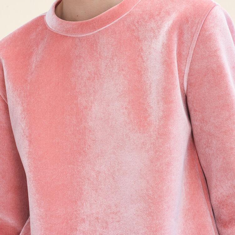 Straight-cut velvet sweatshirt. : Knitwear color Pink