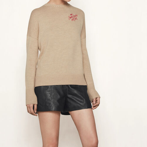 Cashmere sweater with embroidery : Sweaters & Cardigans color Camel