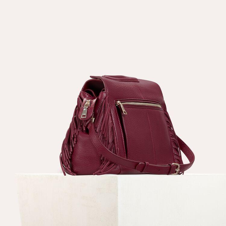 Leather shoulder bag : M bags color Burgundy