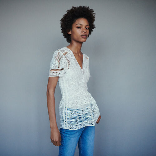 Top in guipure with basque  : Tops color Off White