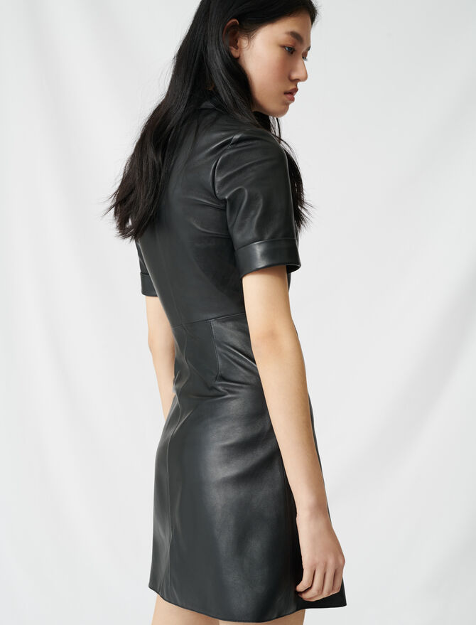 Buttoned leather shirt dress - Dresses - MAJE