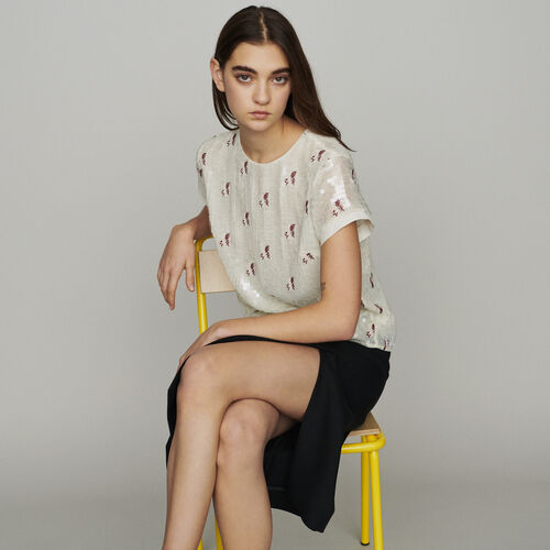 Top with sequin embroidery : Tops color Ecru