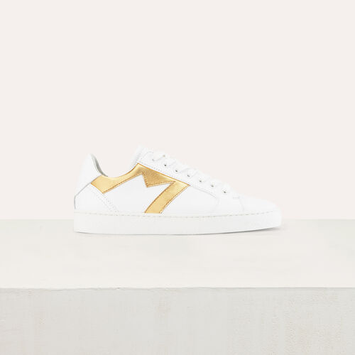 Leather sneakers with contrast M cutout : Sneakers color Gold