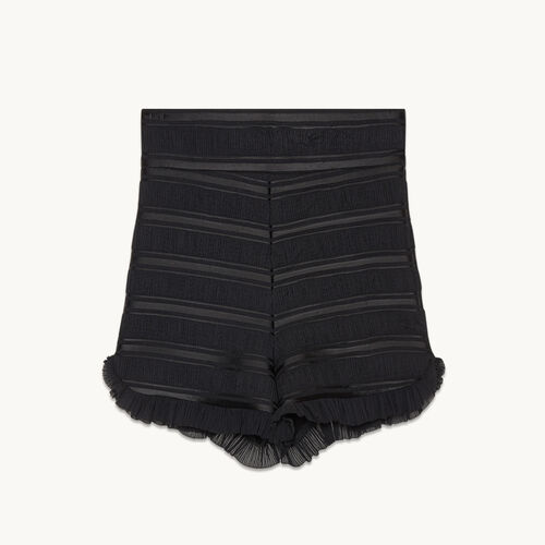 Flounced high-waisted shorts - null - MAJE
