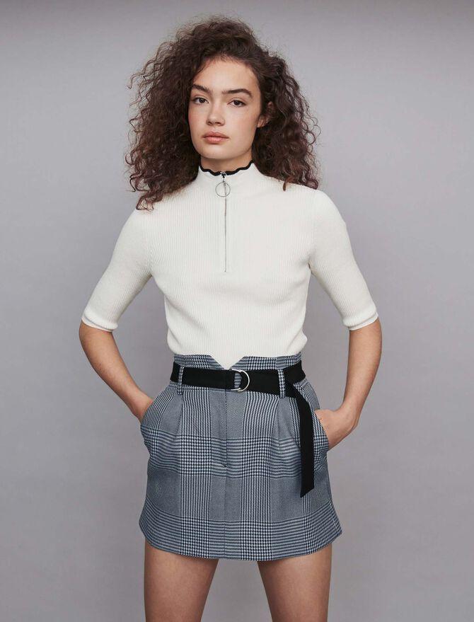 Short belted plaid skirt - SoldesBE_30 - MAJE