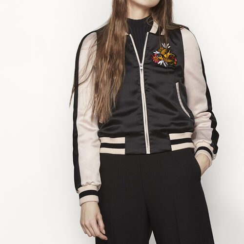Varsity-style two-tone satin jacket : Blazers & Jackets color Black 210