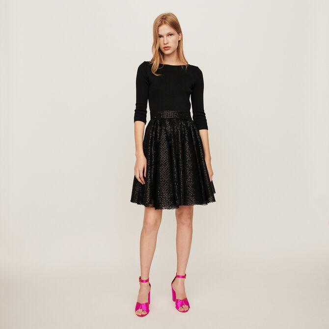 Jersey and strass skater dress -  - MAJE