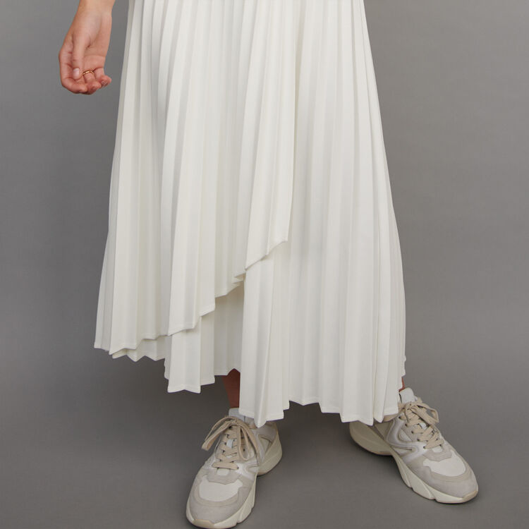 Pleated skirt with contrasting stripes : Winter collection color Ecru
