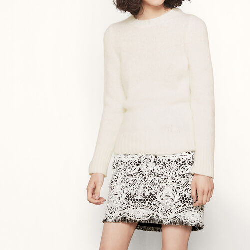 Fluffy-knit jumper : See all color Ecru