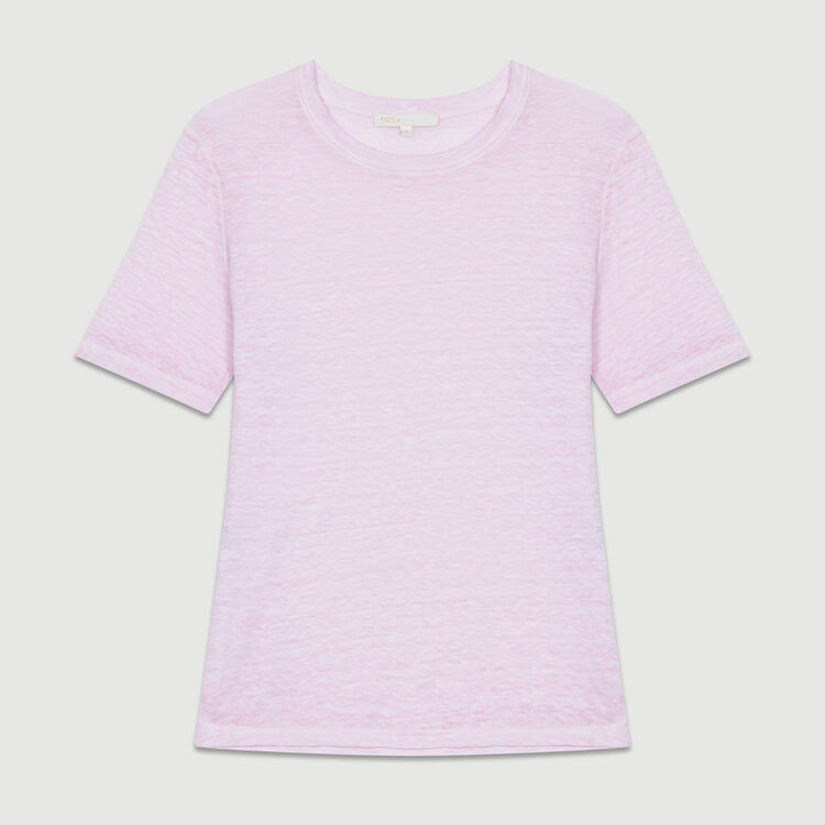 Loose linen top : T-Shirts color LILAS