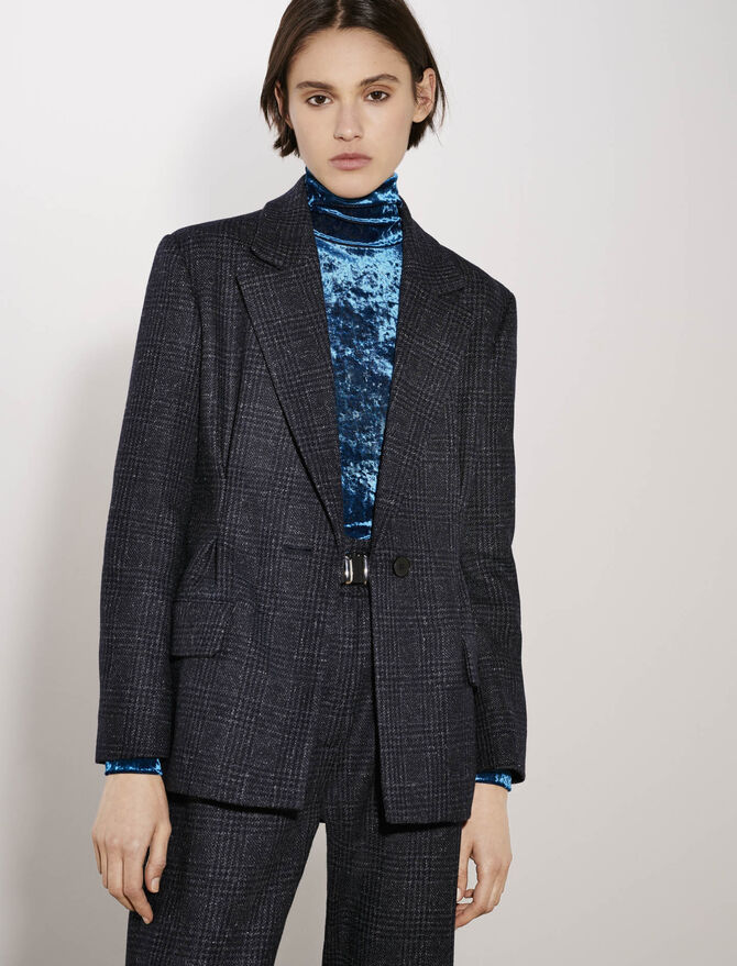 Belted and fitted checked jacket - tout - MAJE
