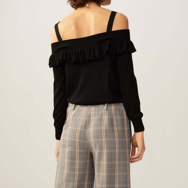 Fine-knit cold shoulder sweater top : Knitwear color Black 210