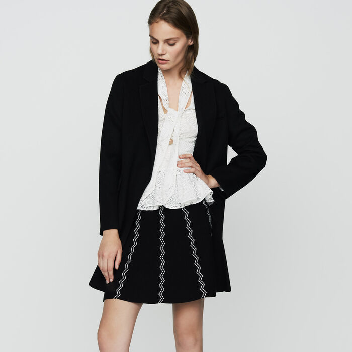 Double-faced wool coat : Ready to wear color Black 210
