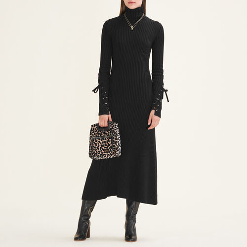 Long tube-knit dress : Dresses color Black 210