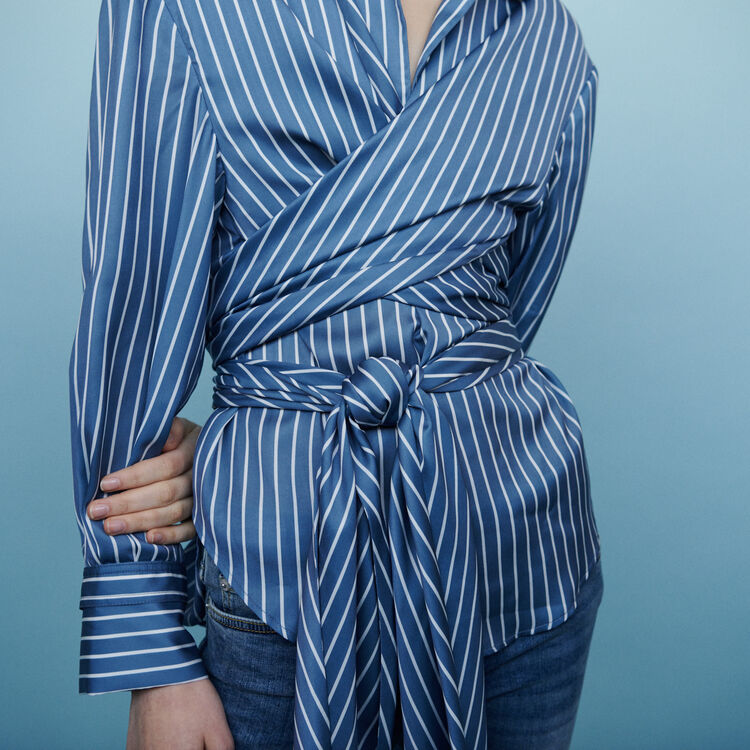 Wrap blouse with stripes : Tops & Shirts color Stripe