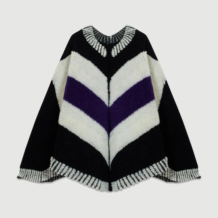 Poncho with sheepskin : Shawls & Ponchos color Black 210