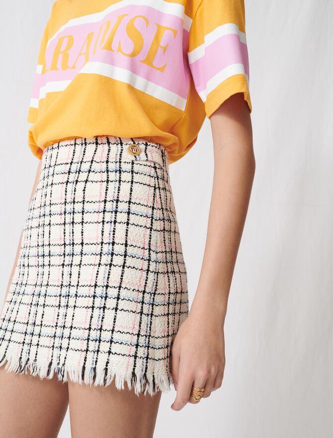 Tweed-style mini skirt with fringing - Skirts & Shorts - MAJE