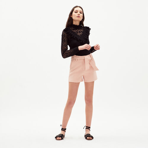 High-waisted shorts with belt : Skirts & Shorts color Nude