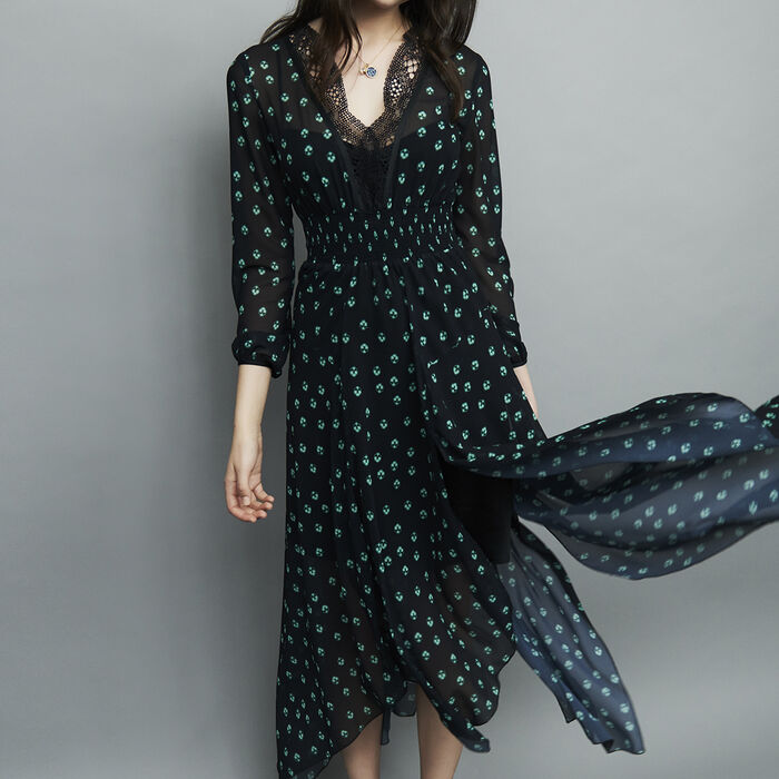 Asymmetrical long print dress : Dresses color PRINTED