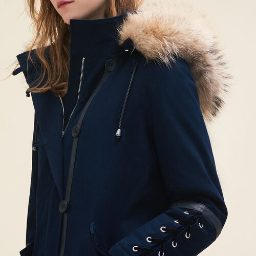 Cropped parka with laced detail : Coats color Navy