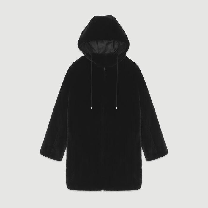 Hooded faux fur jacket : Coats color