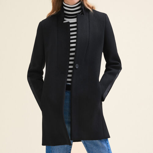 Straight-cut wool coat : Coats color Black 210