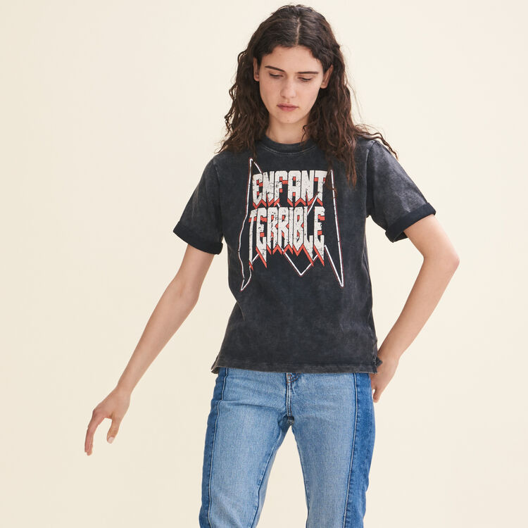 Faded cotton T-shirt with lettering : T-shirts color Black 210